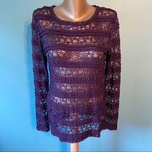 Lord & Taylor purple lace shirt